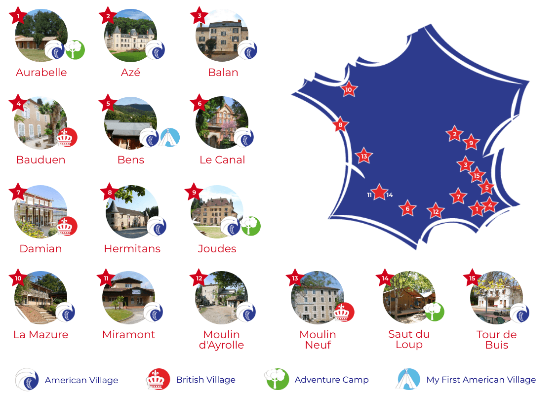 american village camp locations in France